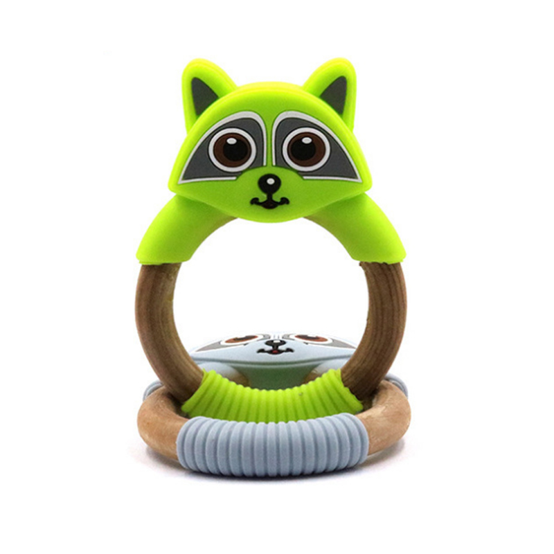 New Funny Owl Silicone Wooden Teether For Baby Teething Toys