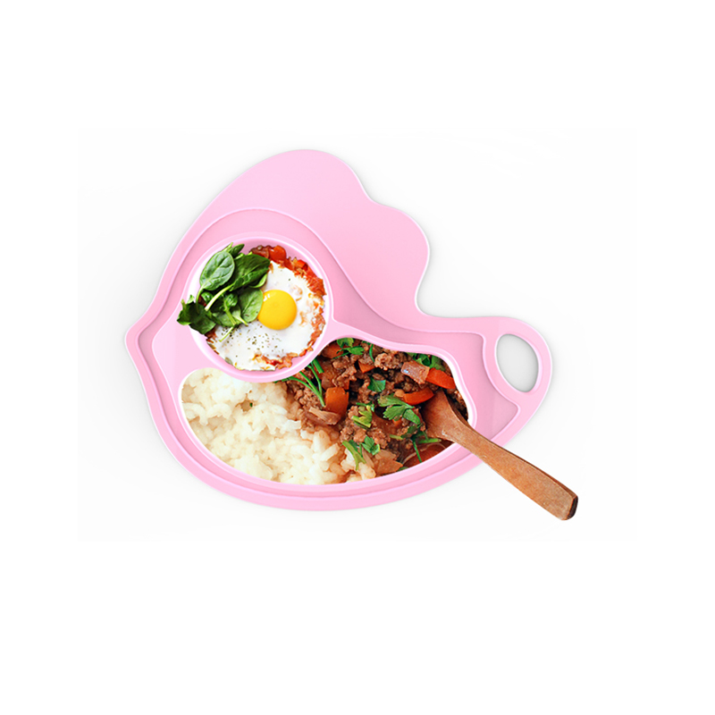 BPA Free Washable One-Piece Chick Silicone Baby Feeding Plate