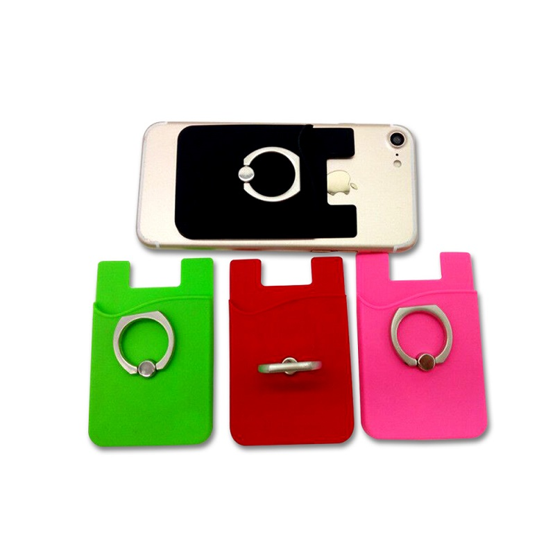 Custom Logo Silicone Wallet Cell Phone Card Holder with Ring