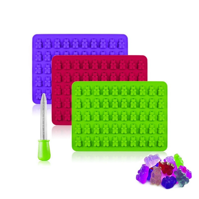 Food Grade 50 cavities Silicone Gummy Bear Candy Mold For DIY