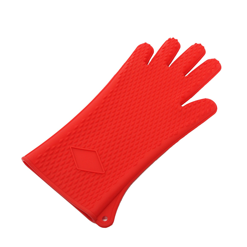Heat Resistant Silicone Double Oven Gloves with Thumb