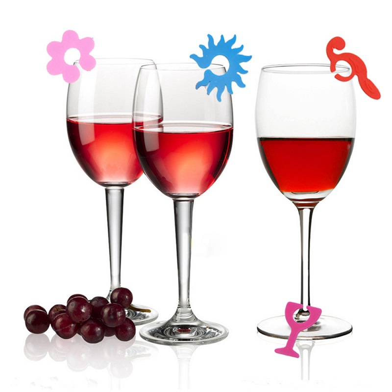 100% Food Grade Customized Silicone Wine Glass Marker with Suction
