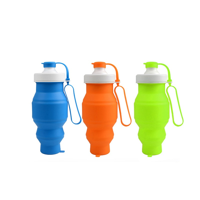 520ml Leakproof Silicone Collapsible Water Bottle with Filter