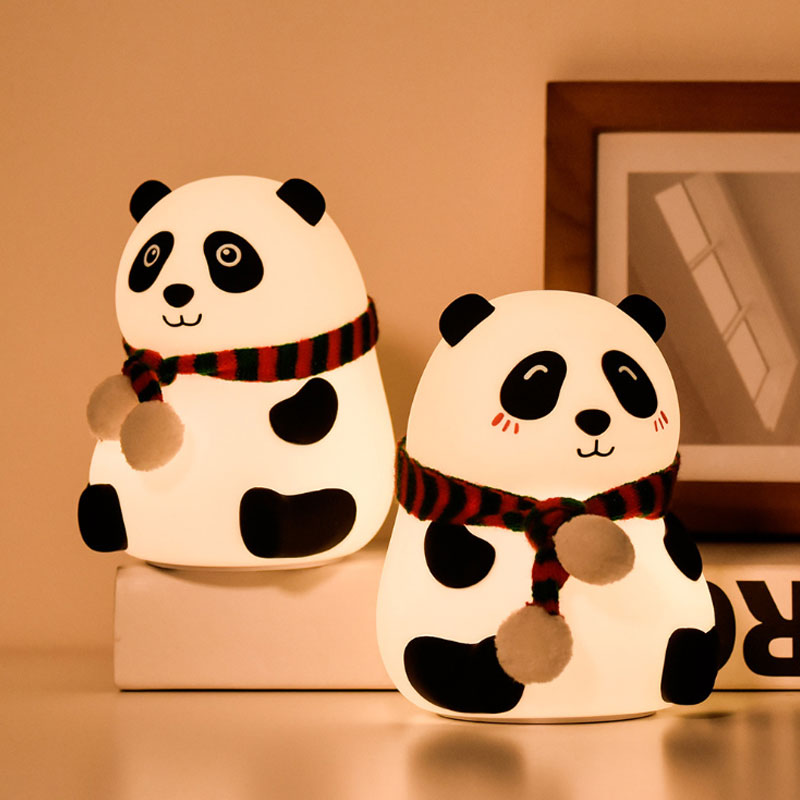 Cute panda Eye protection baby led Home Decoration LED silicone night light for kids
