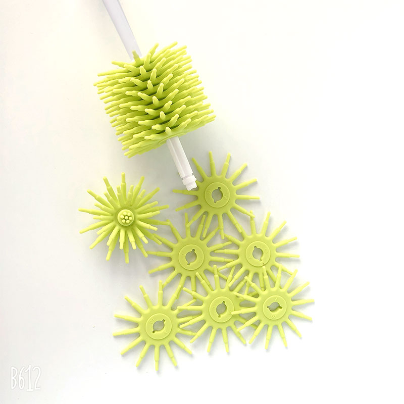 Eco Friendly Long Handle twisted Good Grip natural baby small silicone bottle cleaner brush
