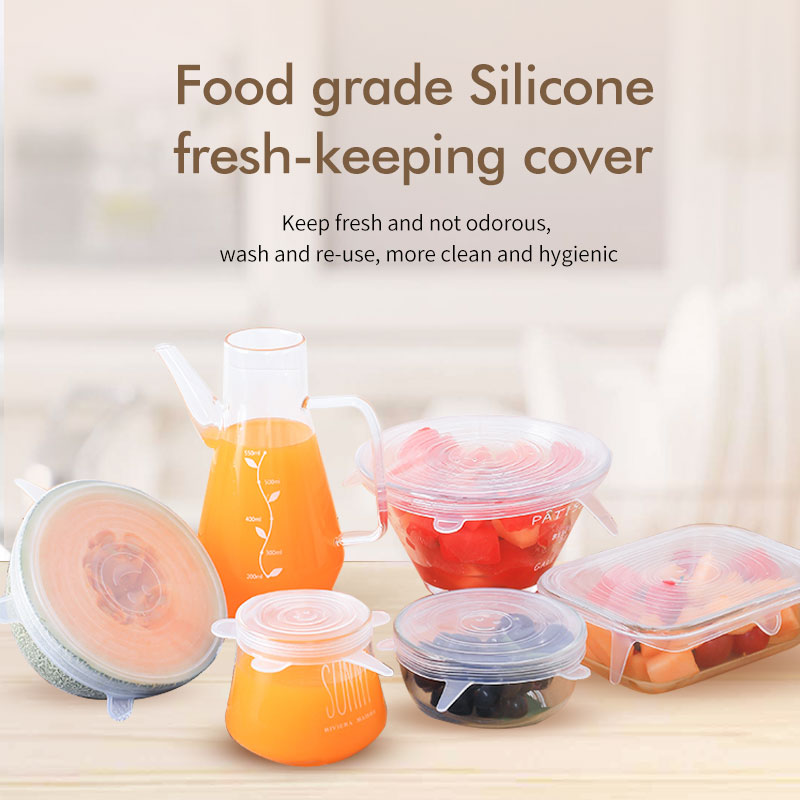 Bowl Cover Food Storage 6 Pack Reusable Silicone Stretch Lids