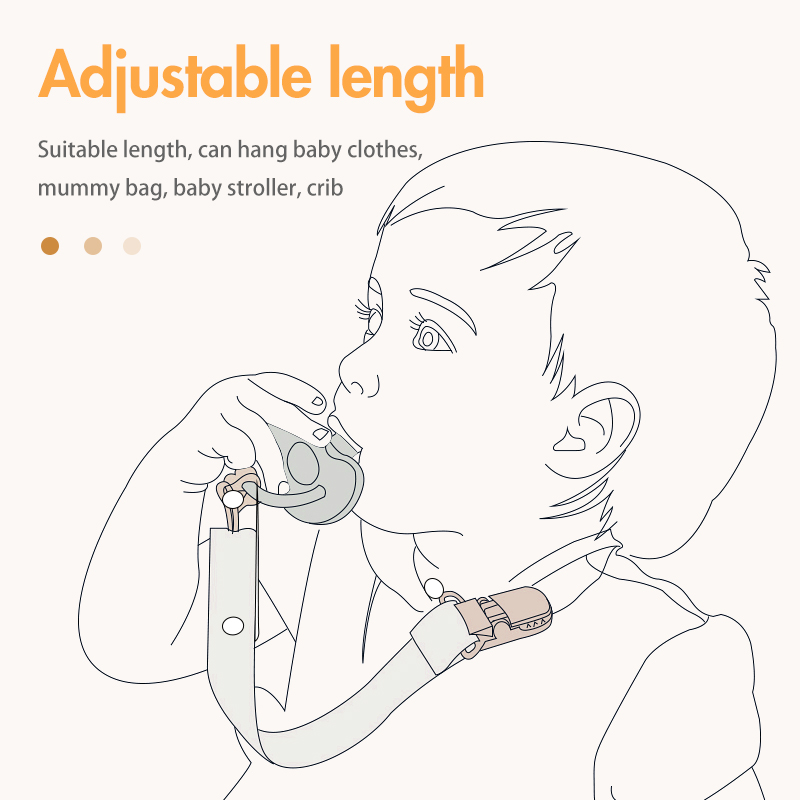 2020 new bpa free Safety adjustable length baby teethers anti-lost clip stylish pacifier braided chain clip