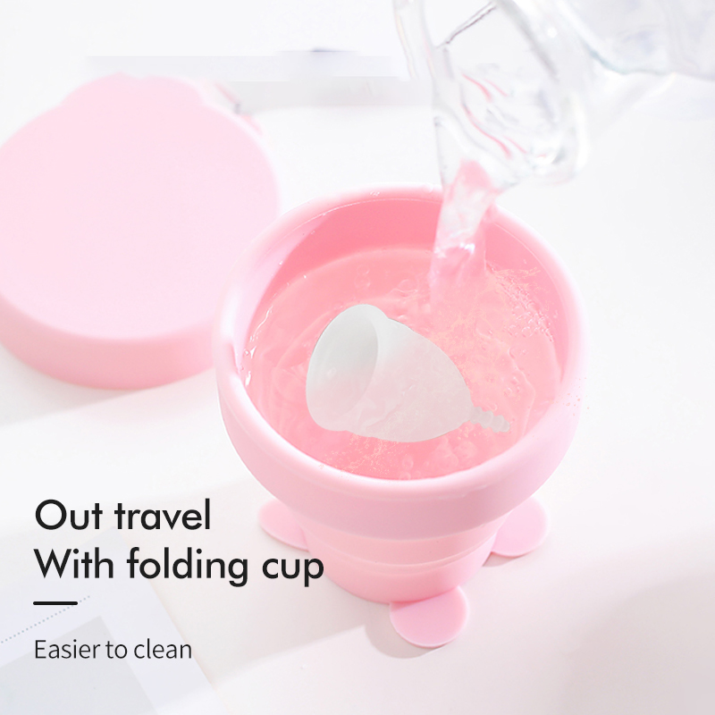 OEM Custom Best Wholesale Reusable Collapsible Folding Soft  Copa Menstrual Cup Set   100% Medical Silicone Menstrual Cup
