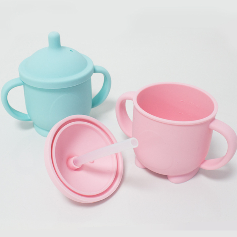 Eco friendly cute leak proof bulk sippy cup spill proof soft spout silicone baby sippy cup