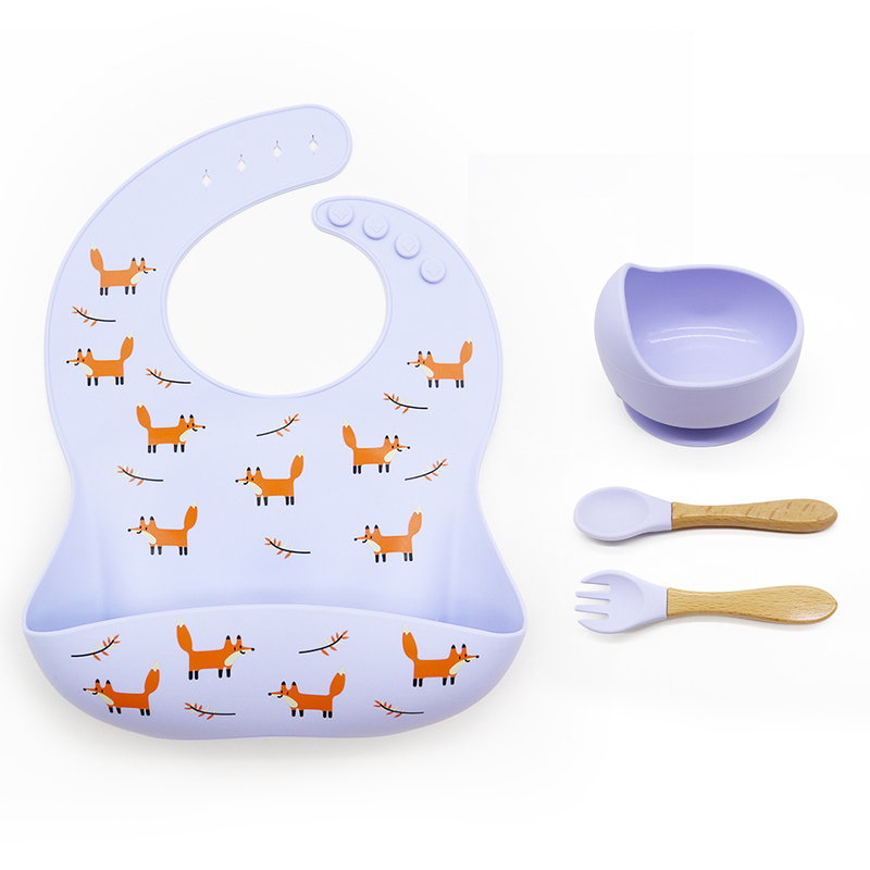 2020 New Design baby bib set Non-Stick Collapsible silicone bowl and spoon set