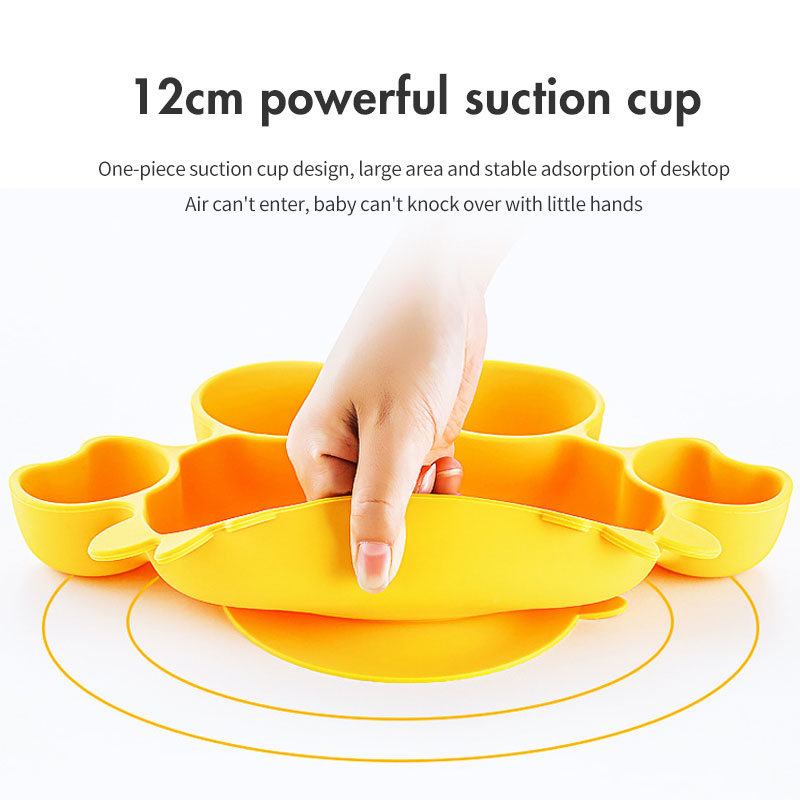Wholesale High Quality Crab Straw Silicone kids baby animal plates license bowl