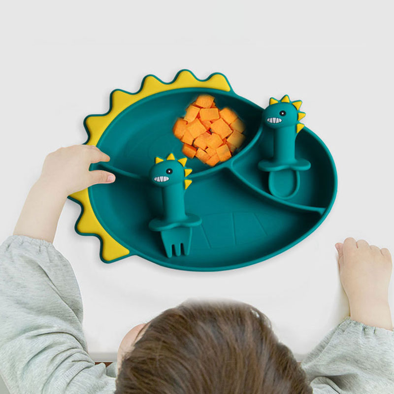 High Quality Dinosaur Silicone bib with number custom plate baby suction set fork