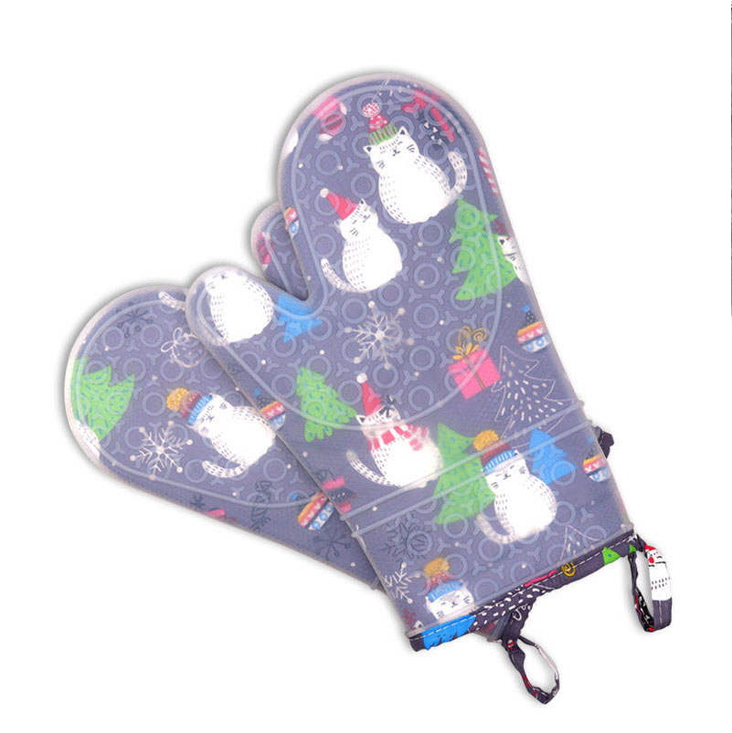 Custom logo Heat Resistant BBQ Oven Mitts Anti Slip silicone printed oven hand gloves