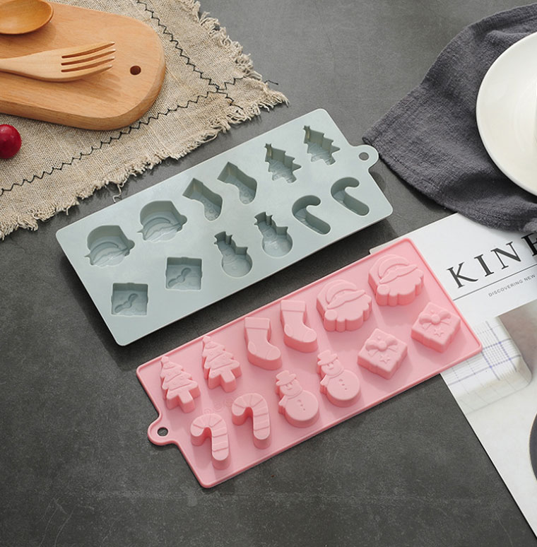 Eco-Friendly Christmas series kitchen Chocolate biscuit dessert baking 3d silicone cake molds