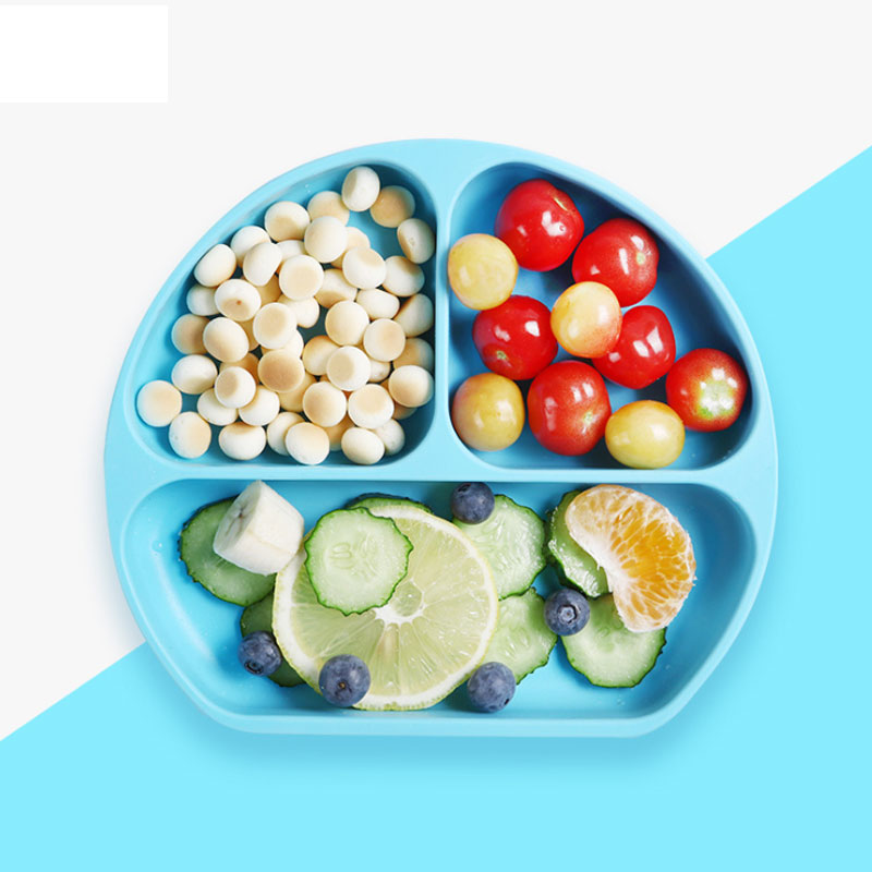 Food Grade Three Grid Silicone baby dining kids suction for plate set with bib