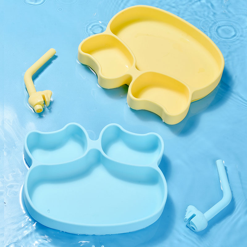 BPA Free divided Silicone bib with suction bib suction bowl mold plates set spoon and fork for baby