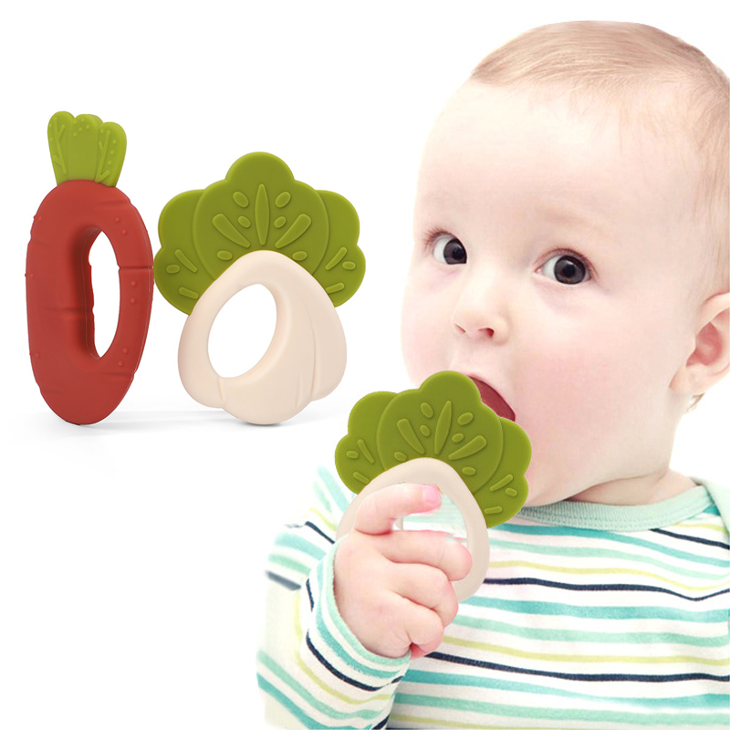 Wholesale vegetables Sensory Wooden Teether Silicone Baby Teething Toy set