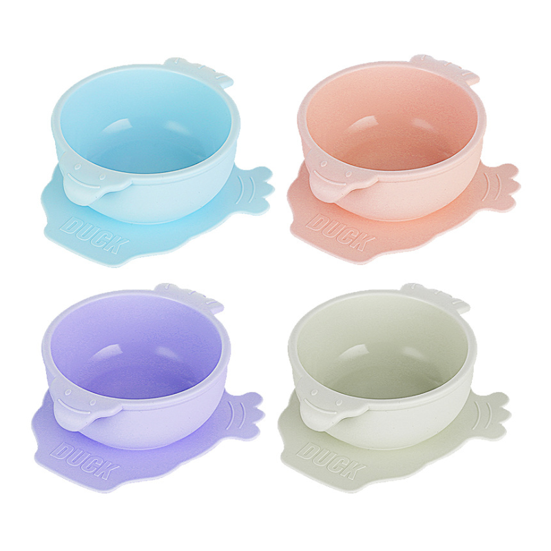 Custom Spill Resistant Funny silicone baby Feeding bowl and spoon set