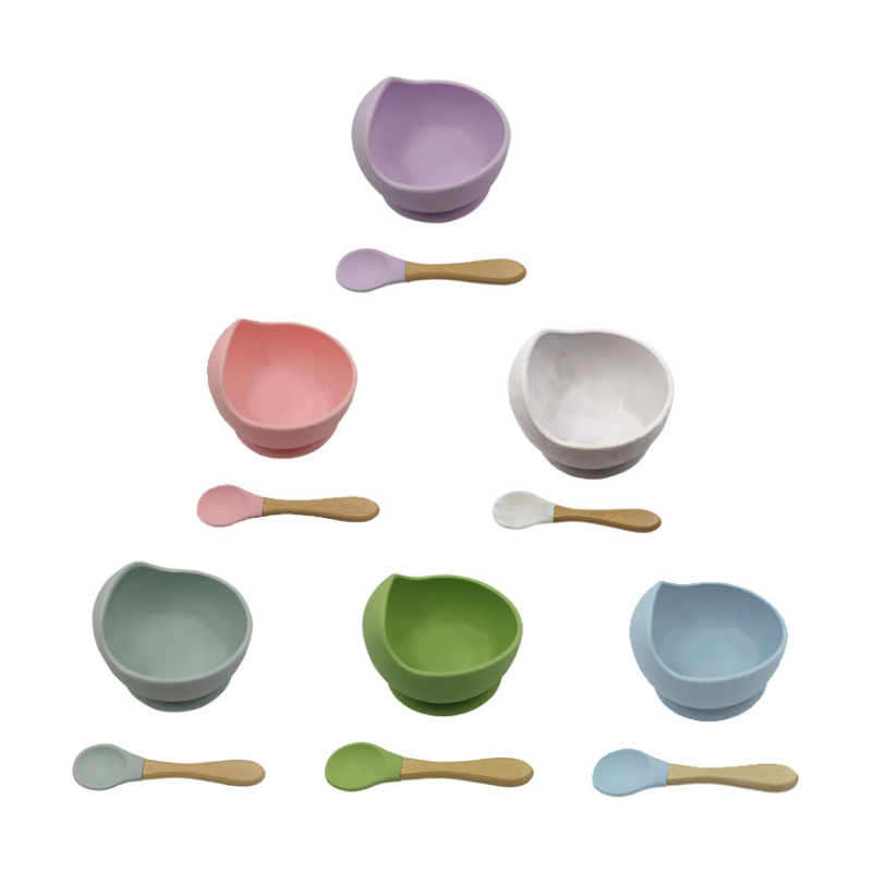Wholesale Colorful Anti-scalding Soft  silicon baby feeding bowl set with spoon