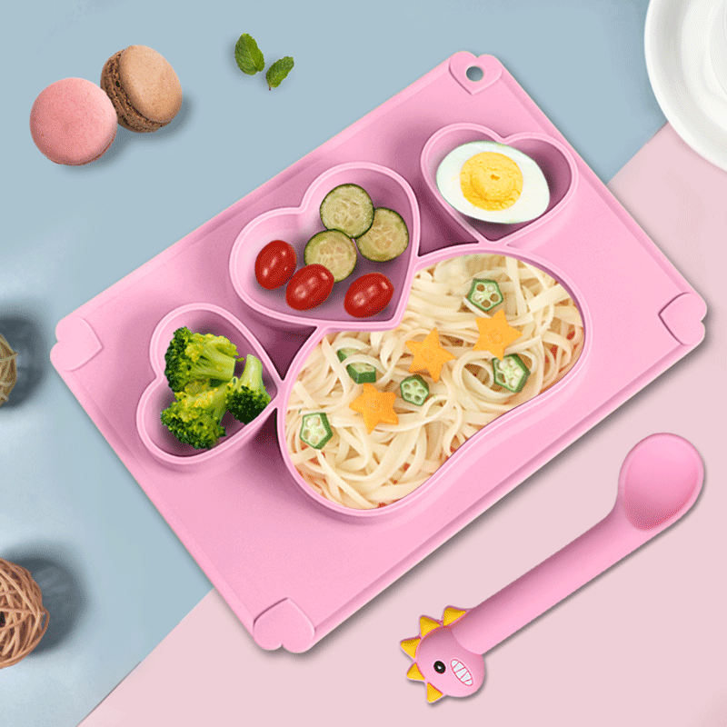 Wholesale cartoon 3 pcs silicone baby feeding set waterproof soft silicone baby plate and Spoon fork