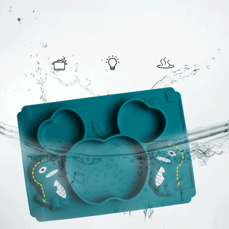 Wholesale Colorful Non-slip Silicone Baby Feeding Suction plate With Spoon