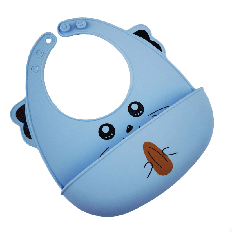 2021 BPA free Cute animal picture Multi Colored soft Food Grade waterproof baby silicone bib