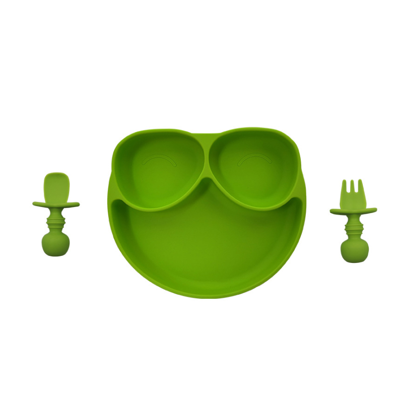 Anti-Choke Easy Grab First Self Feed Baby Food grade Silicone Spoon and Fork Set