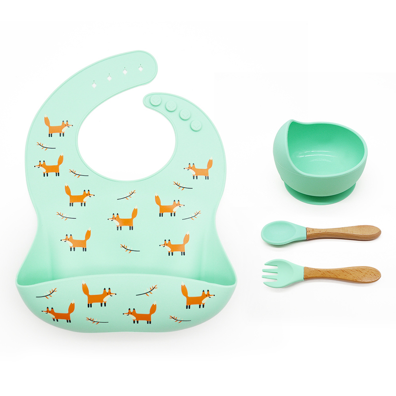 Customizable Waterproof baby feeding set of 3 Easily Clean baby bib silicone bowl with spoon set