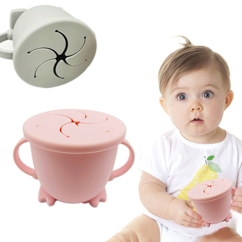 Reusable Simple Baby Toddler Silicone Sippy Cup  No Spill Drinking Straw Cup With Lid