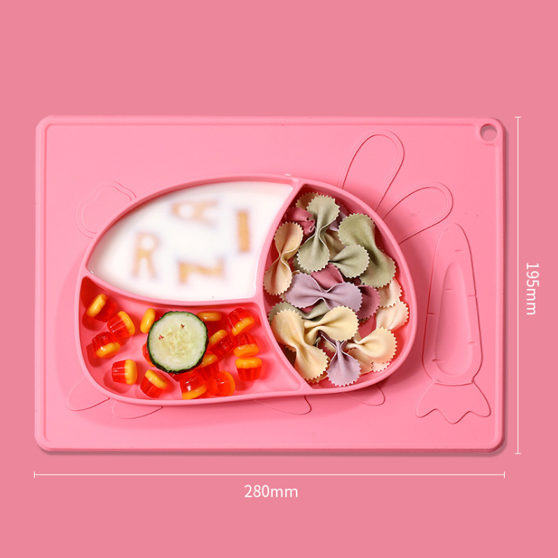 Custom Cute rabbit Shape suction feeding placemat silicone baby dinner plate
