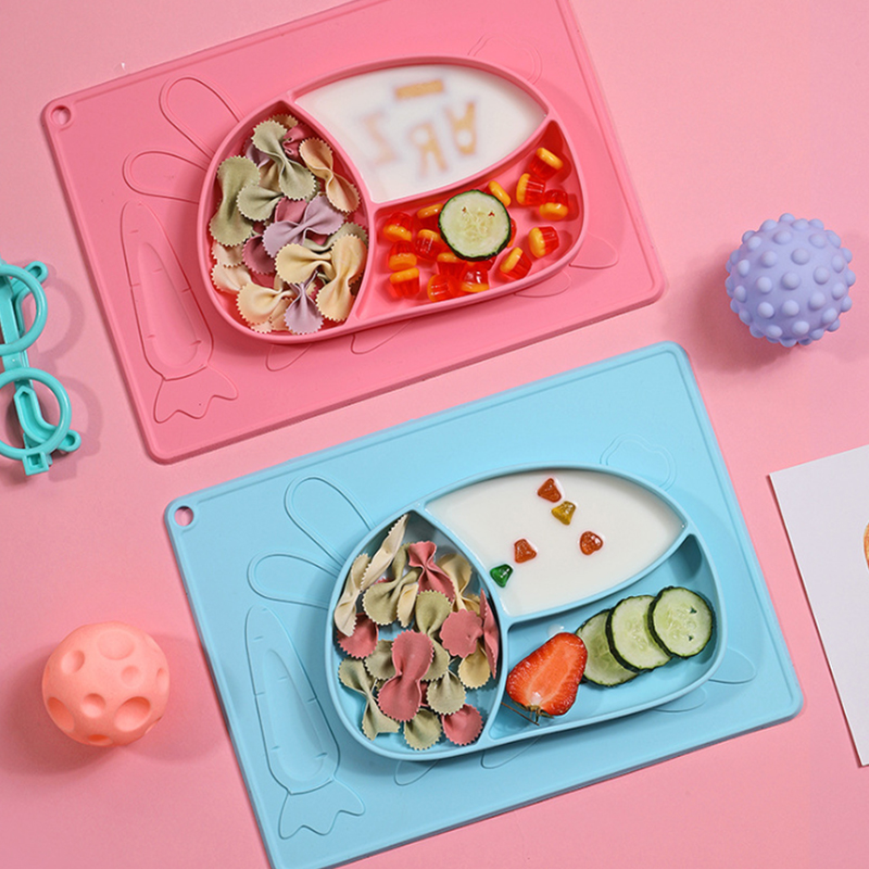 Heat-Resisitant Non-Slip Soft food grade bpa free silicone baby plate placemat