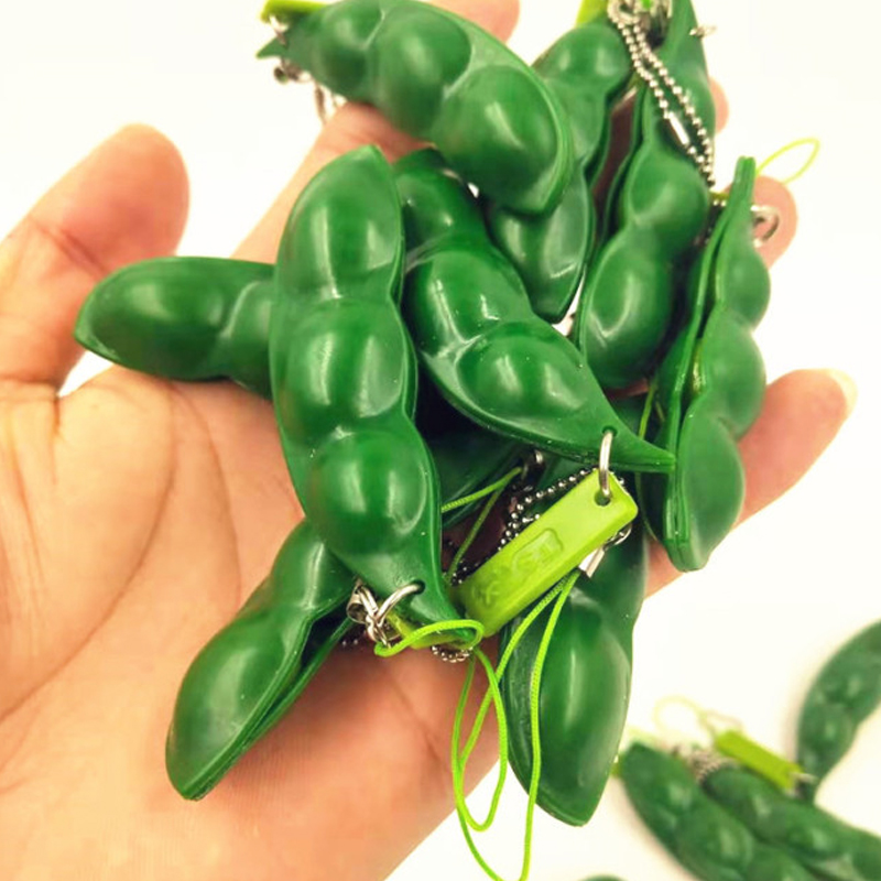 Factory Directly Supply Squishy Squeeze Peas Beans Keychain Anti Stress pea in a pod pea poppers fidget toys