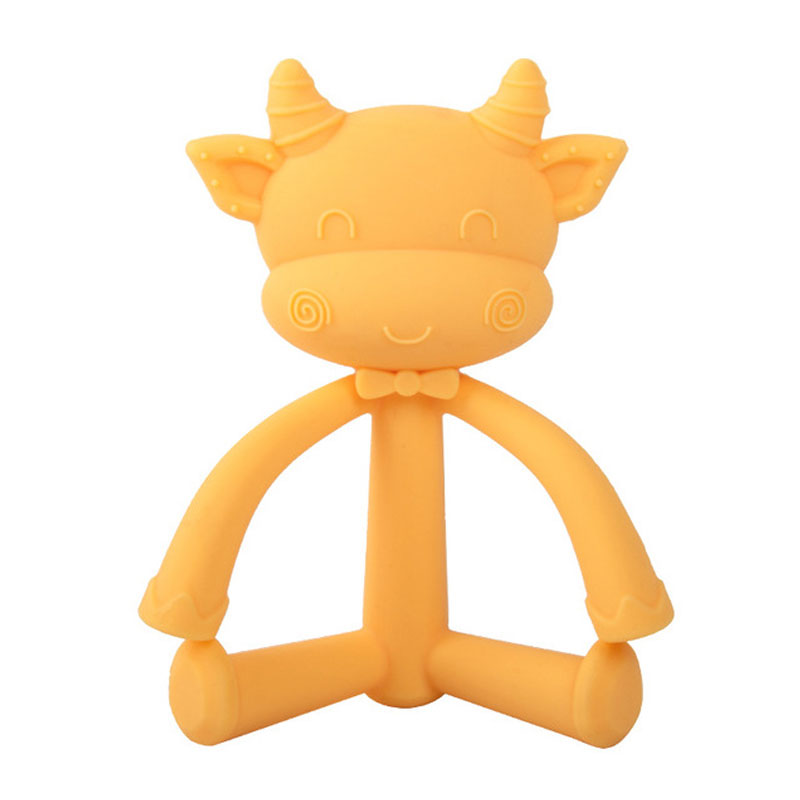 Custom candy color cute cow teether toy Easy to grip BPA free Soft silicone baby teether