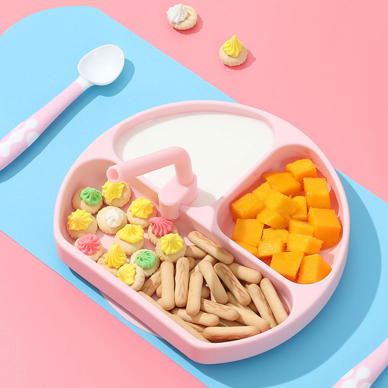 High Quality Three Grid Silicone baby strong suction bowls all in one mat and  plates and  spoon