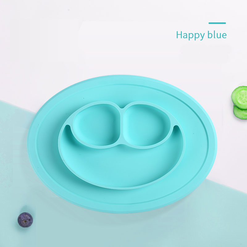 Hot Sale suction Smile Face Silicon baby food kids bib plates set for christmas