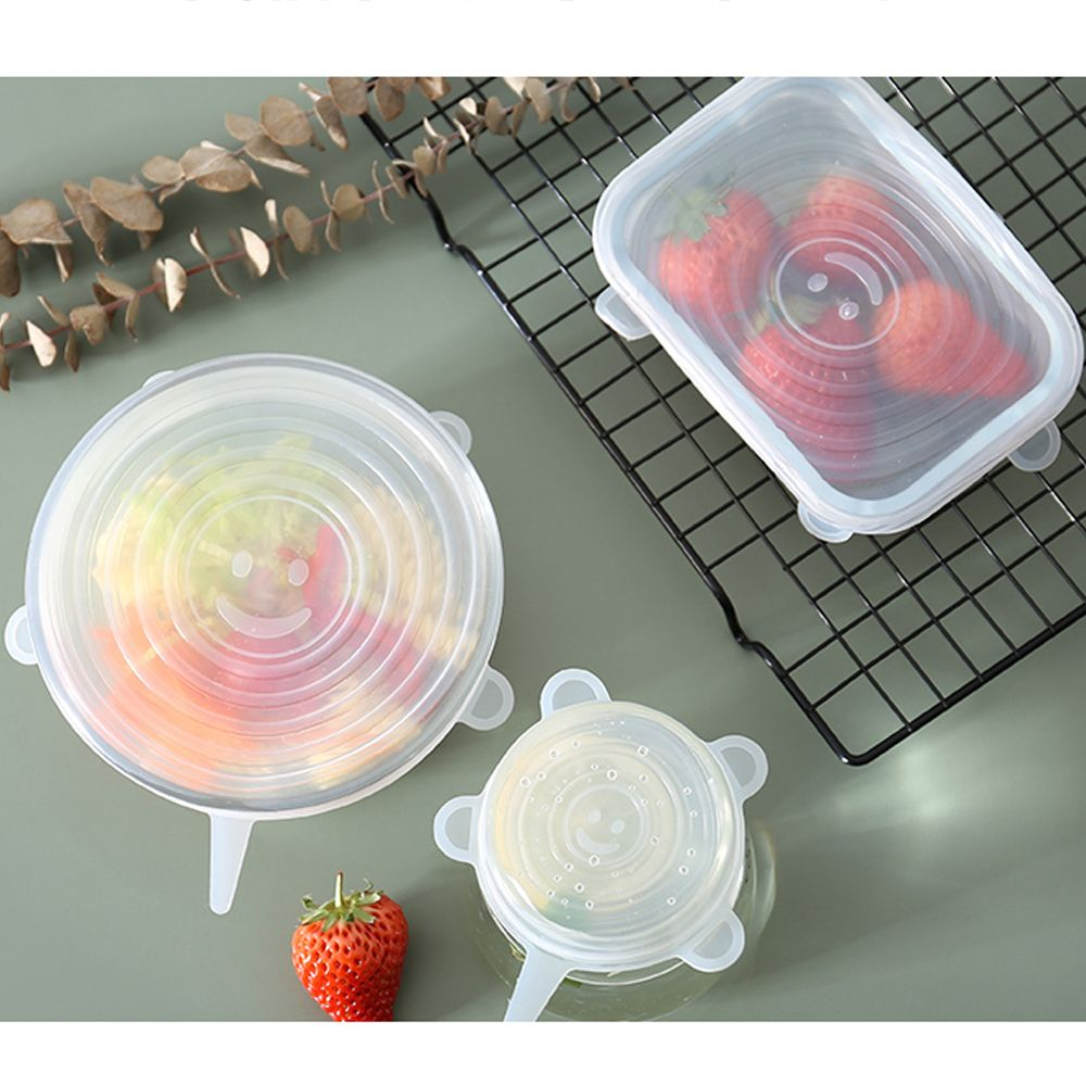 6 Pack Reusable Silicone Food Wrap Food Covers Silicone Stretch Lids