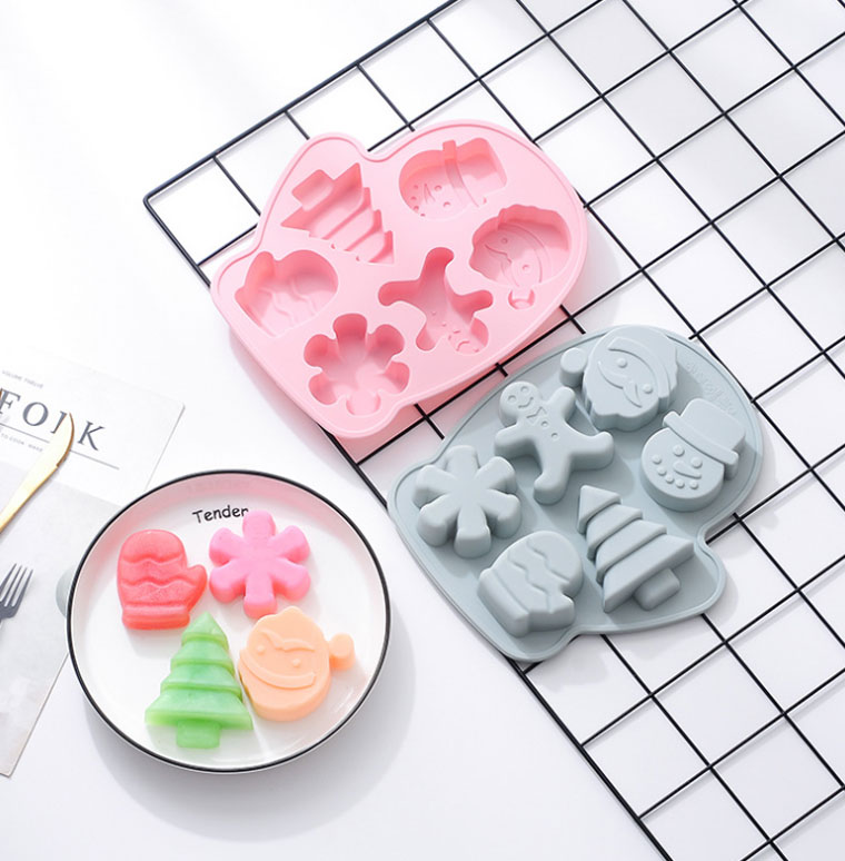 Factory Price  6 Cavity Different Shape 3D Christmas Baking Mold Bpa Free Large Silicone Chocolate Cake Mold