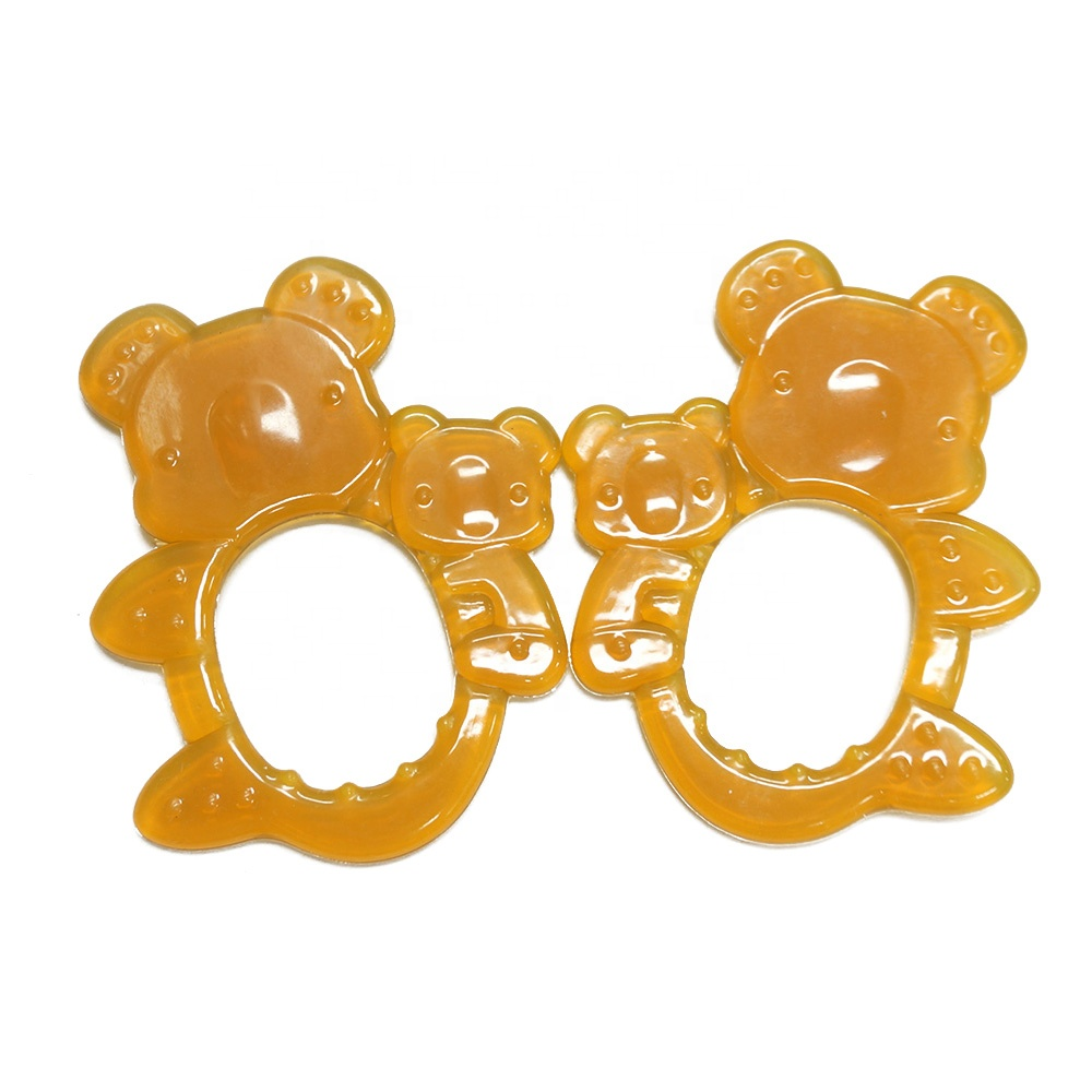 Flexible Food Grade Silicone Bear Shape Baby Teether Wood Toy