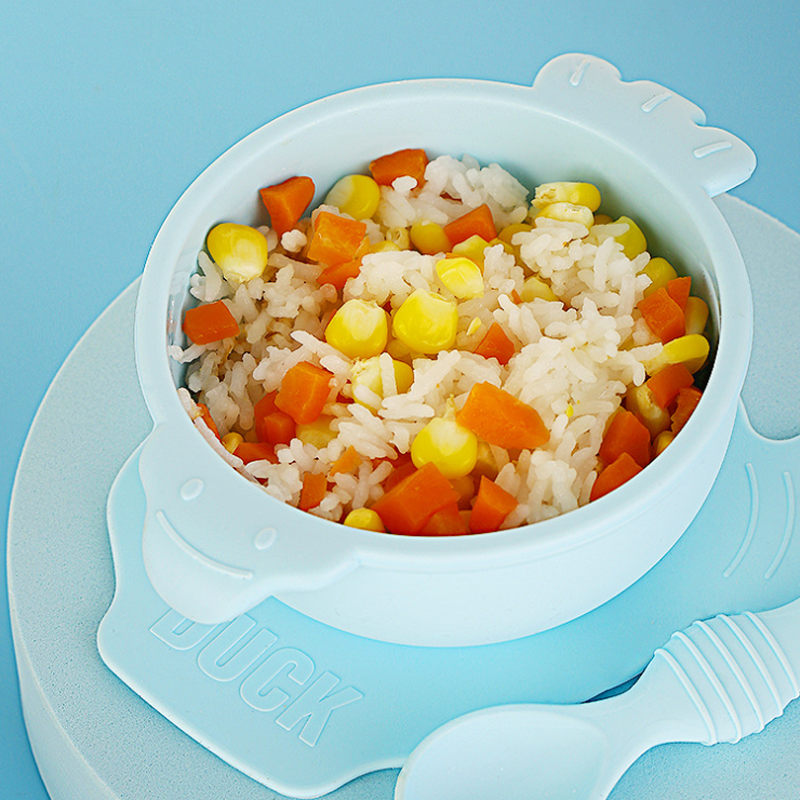 High Quality Non-Sticking Suction  Food Bowl Food Grade Silicon Bowl Baby With Spoon