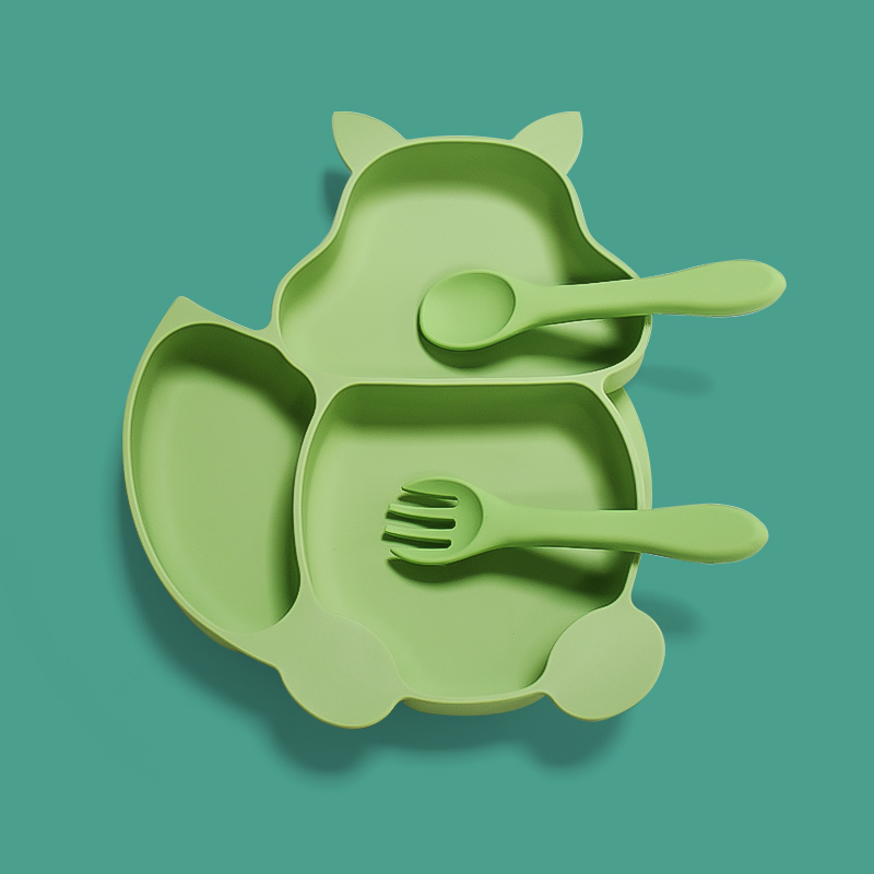 Custom logo DIY Food Grade Placemat Plate Baby Bowl silicone Divided Suction Plate