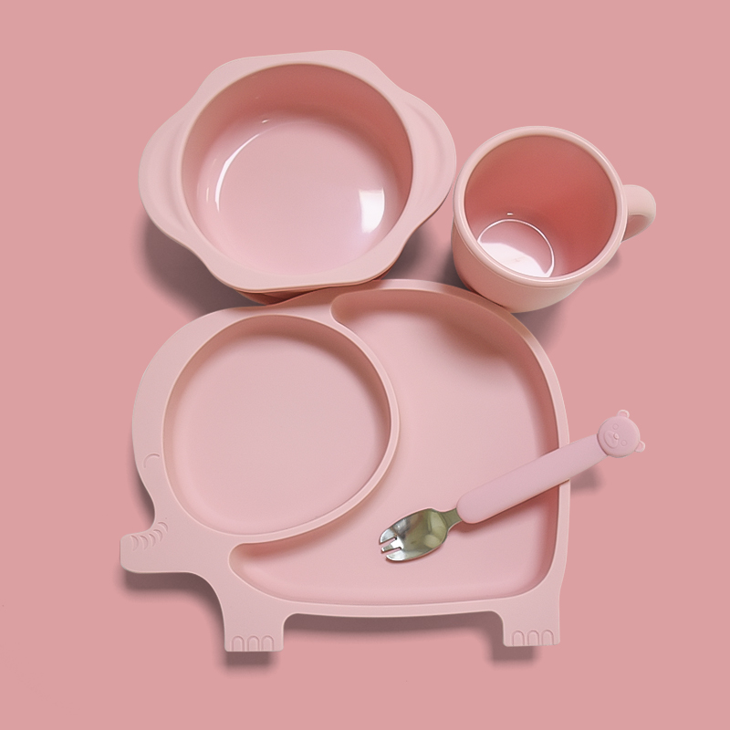 Eco-Friendly New Product Silicone Baby Plates Suction Silicone Dinner Feeding Set