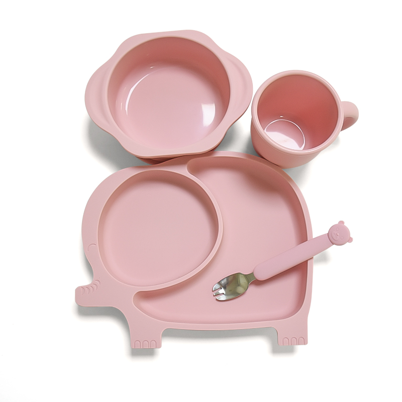 Wholesale Baby Silicone Suction Plates Easily Easy Clean Baby Feeding Set