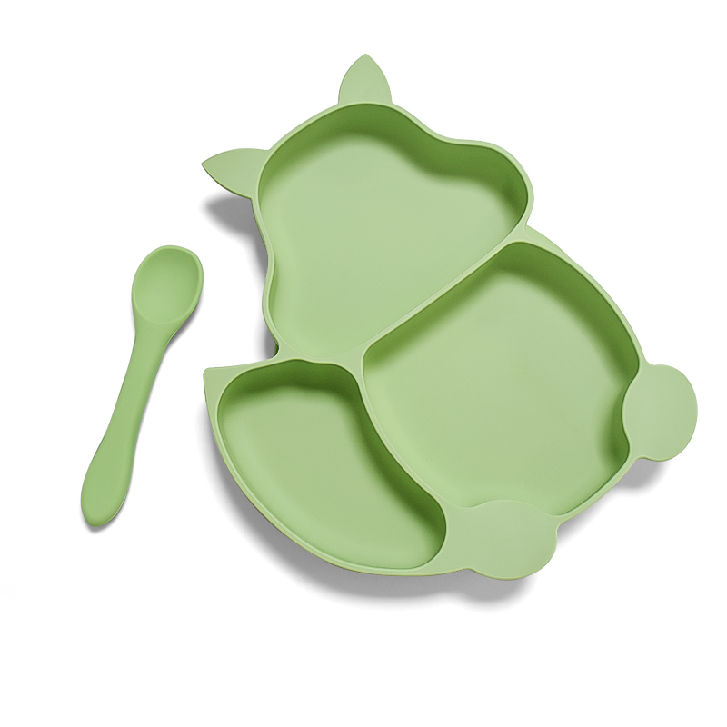 Waterproof baby dinner plates silicone Bpa Free Food Grade  baby feeding plate set with spoon