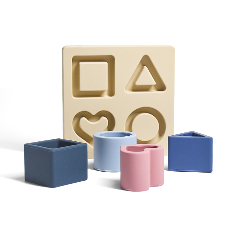 New motessori stacking cognitive hand board silicone wooden shape geometric puzzles for kids