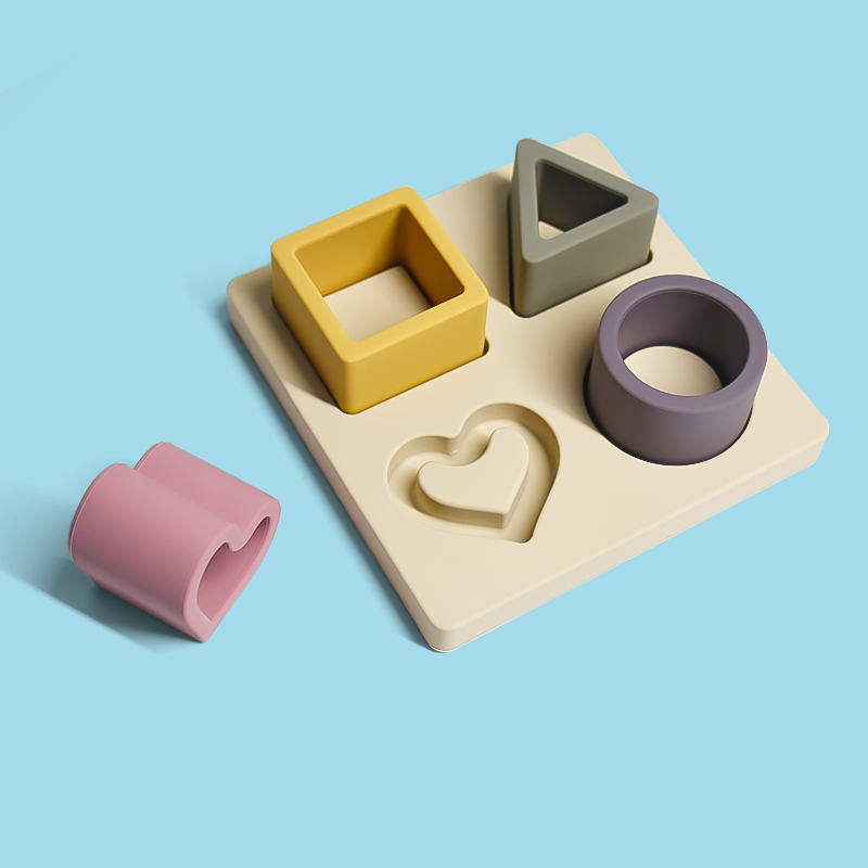 Custom Logo 3D Heart Sublimation unique jigsaw kids wooden shape geometric silicone toys puzzles for toddler