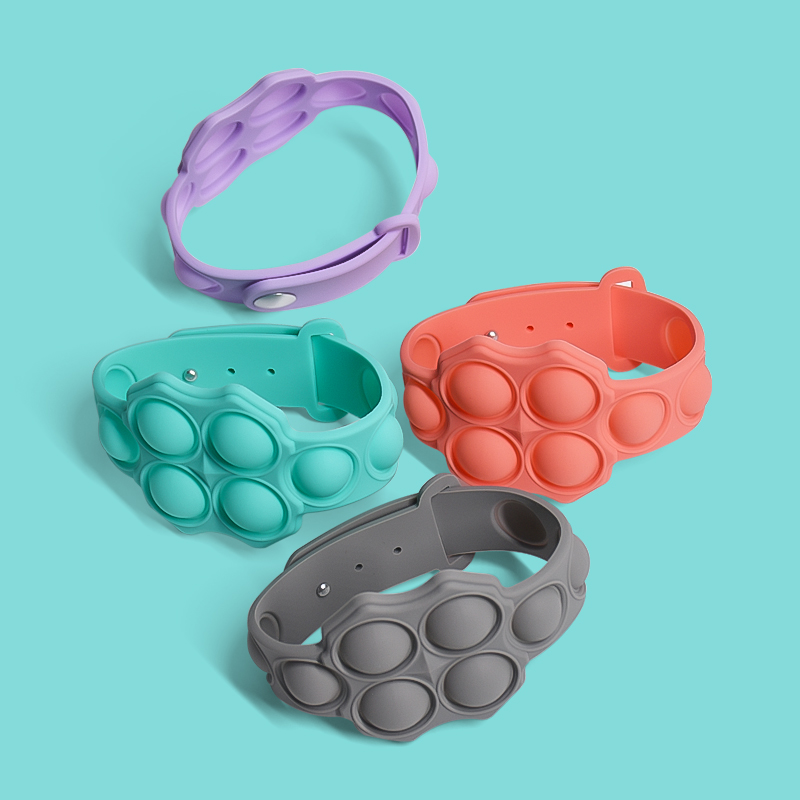 Pop-It Changes Color Watch Wristband Round Stretch Anxiety Women Bubble Sensory Toys Silicone Fidget Bracelets