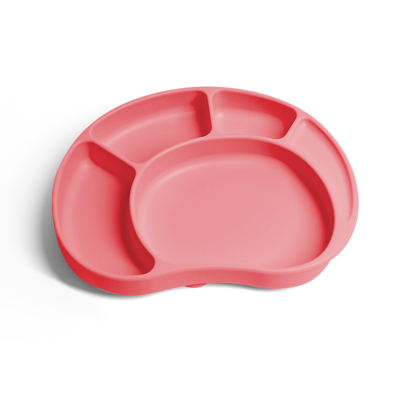 Pastel Packaging Devided Rubber Crab Portable Ant Slip Grad Baby Feeding Silicone Plate