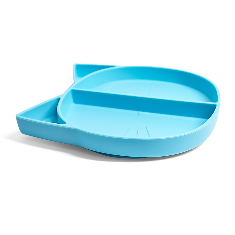 Reusable Kids Dinosaur Shape Round Divided Food Lunch Bpa Free Silicone Baby Plate