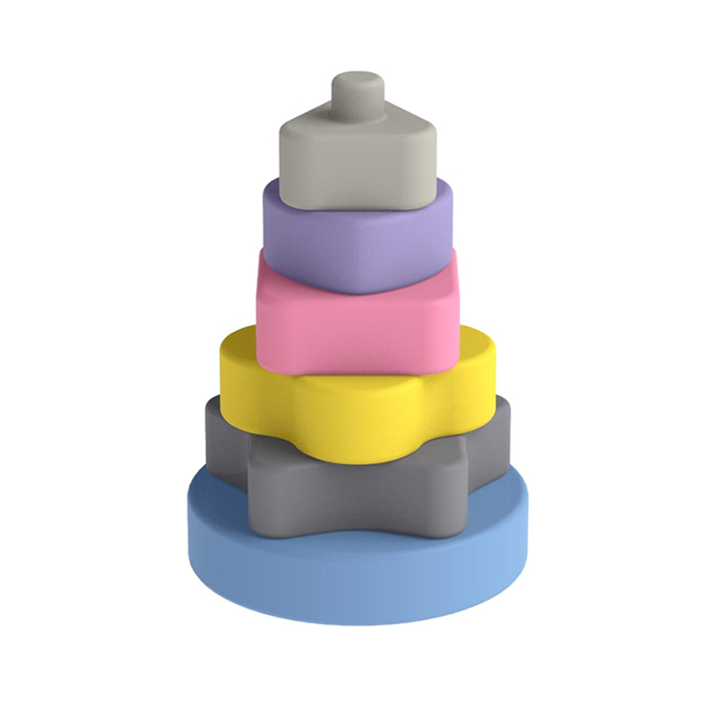 Legenday Educational Food Grade Ring Stacking Toy Emboss Soft Squeeze Silicone Baby Teether Rainbow Building Blocks Stacking Toy