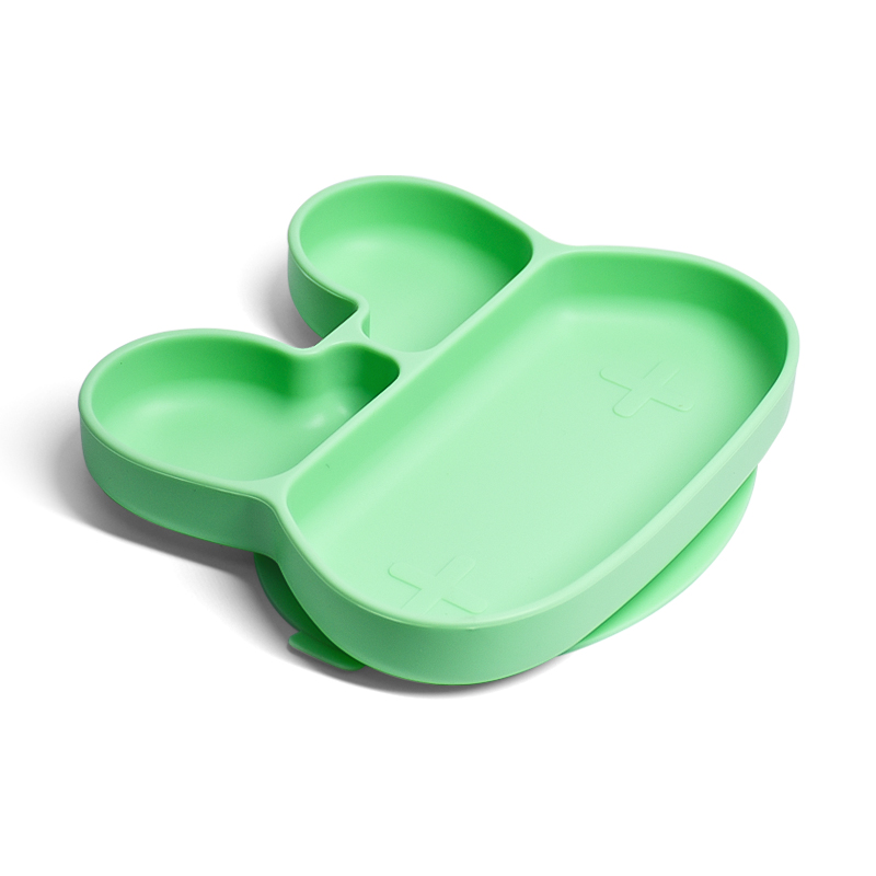 Toddler New Food Grade Waterproof Divider Circle Non Slip Dinner Silicon Baby Plate Set